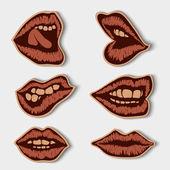 Set of vintage paper lips — Stock Vector