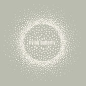 Butterflies flying in a circle scatter in different directions. — Stock Vector