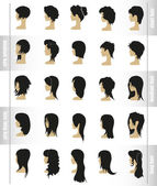 Vector set of womens hairstyles and haircuts — Stock Vector