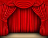 Tenda di seta rossa — Vettoriale Stock