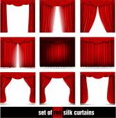 Set of red silk curtain — Stock Vector
