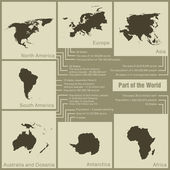 Infographics parts of the world in the earth — ストックベクタ