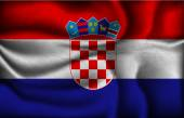 Crumpled flag of Croatia on a light background — Stock Vector