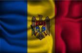 Crumpled flag of Moldova on a light background — Stock Vector