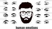 Description of human emotions — Stock Vector