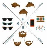 Beard, mustache and haircut — Vector de stock