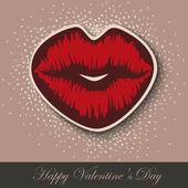 Paper Heart Lips kiss — Stock Vector