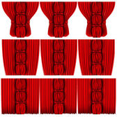 Red silk curtains set — Stock Vector