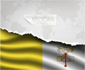 Torn paper with VATICAN flag — Stock Vector