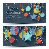 Christmas banners - flat design style — Stock Vector