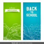 Back To School hand drawn banners — Stock Vector