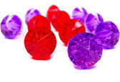 Red ruby and amethyst gem stones crystals — Stock Photo