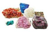 Chalcopyrite aragonite vanadinite erythrite geological crystals  — Stock Photo