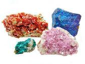 Vanadinite cobaltocalcite chalcopyrithe dioptase geological crys — Stock Photo