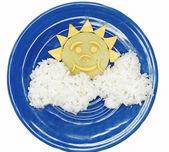 Creative vegetable food dinner sun form — Stock Photo