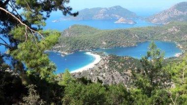 Panorama of coast oludeniz landscape mediterranean sea turkey — Stock Video