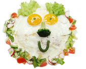 Creative egg breakfast for child face form — Stock Photo