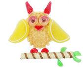 Creative marmalade fruit jelly sweet food owl bird form — Stock Photo