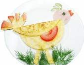 Creative egg breakfast for child bird form — Stock Photo