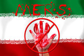 Concept show hand stop MERS Virus epidemic Iran flag background. — Stock Photo