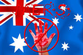 Concept show hand stop MERS Virus epidemic on Australia flag bac — Stock Photo