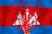 Concept show hand stop MERS Virus epidemic Cambodia flag backgro — Stock Photo