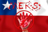 Concept show hand stop MERS Virus epidemic Chile flag background — Stock Photo