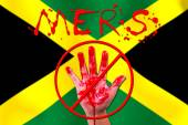 Concept show hand stop MERS Virus epidemic  JAMAICA  flag backgr — Stock Photo