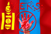 Concept show hand stop MERS Virus epidemic  Mongolia flag backgr — Zdjęcie stockowe
