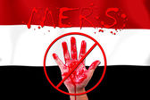 Concept show hand stop MERS Virus epidemic  Yemen flag backgroun — Stock Photo