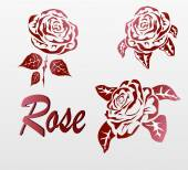 Vector Rose . icons .tattoo . — Stock vektor