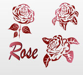 Vector Rose . icons .tattoo . — Vector de stock