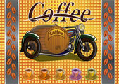 Retro banner with a cup of coffee and motorcycle — Stock vektor