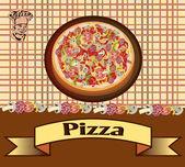 Pizza, illustrazione vettoriale, menu — Vettoriale Stock