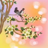 Wieczorem w ogrodzie kwitnących wiśni i śpiewać ptaki — Wektor stockowy