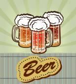 Verre de bière avec la mousse et le poisson — Vecteur