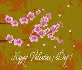 Flowers , postcard . valentine's day — Stock Vector
