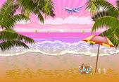 Sommer Urlaub und Reise-design — Stockvektor