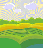 Vector illustration . Green Landscape — Vetor de Stock