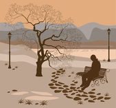 Loneliness, a walk in the park man — Stock Vector