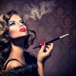 Retro Woman with Mouthpiece — Stock Photo #52198273