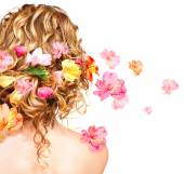 Hairstyle with  flowers. — Stock Photo