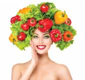 Girl with vegetables hairstyle. — Stock Photo
