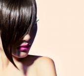 Girl with fashion haircut. — Stock Photo