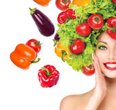 Girl with vegetables hairstyle — Stock Photo