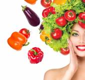 Girl with vegetables hairstyle — Foto de Stock