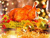 Christmas table  with  turkey — Stock Photo
