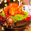 Christmas dinner with roasted turkey — Stock Photo #59944049