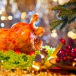 Christmas dinner with roasted turkey — Stock Photo #59944137