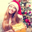 Girl With Christmas Gift Box — Stock fotografie #59944143